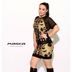 Masca Fashion rövid muszlin raglánujjú, arany mintás fekete miniruha, csipkeszegélyekkel Shirt Dress, T Shirt, Dresses, Fashion, Supreme T Shirt, Vestidos, Moda, Shirtdress, Tee Shirt