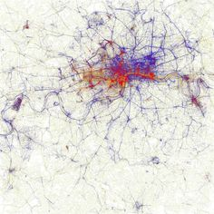 Locals and Tourists (GTWA London (by Eric Fischer) Blue pictures are by locals. Red pictures are by tourists. Yellow pictures might be by either. Base map © OpenStreetMap, CC-BY-SA Interactive World Map, World Atlas Map, Heat Map, Art Carte, Blue Pictures, Data Visualization, Map Art, Abstract Art, Abstract Pattern