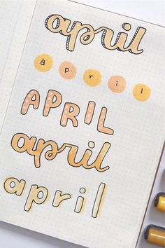 Best April Bullet Journal Header Ideas For 2020 - Crazy Laura - - If you need help starting out your spreads and layouts for the month, then check out these super cute bullet journal april headers for inspriation! April Bullet Journal, Bullet Journal Headers, Bullet Journal Banner, Bullet Journal Lettering Ideas, Journal Fonts, Bullet Journal Notebook, Bullet Journal School, Bullet Journal Ideas Pages, Bullet Journal Inspiration