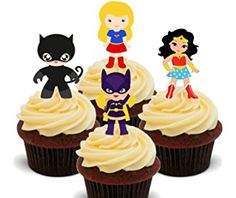 "DC Superhero Girls Personalised Cake Topper 7.5/"" Edible Wafer Paper Marvel"
