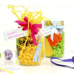 This fun and quirky gift will give the recipient a fun birthday surprise!Choose which items you would like placed inside the birthday jar. The small toy will be selected at random. Please write your text exactly how you would like it on the sticker. The text will be printed exactly as you have entered it so please take care with typos.As they open up this glass jar they'll find an enchanting selection of treasures and treats which will add a playful and thoughtful touch to their ...