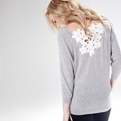 V-neck sweater with back lace detail RW&CO. Spring 2015