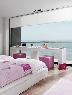 Girly-Kids-Bedroom-Design-with-Beautiful-Sea-Views