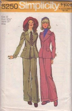 MOMSPatterns Vintage Sewing Patterns - Simplicity 5250 Vintage Sewing Pattern THE BEST Annie Hall Fitted Suit Jacket, Flared Hem, Gathered Sleeve, WIDE Lapels, Cuffed High Waisted Trousers Size 10 (rocked this one! Vintage Dress Patterns, Clothing Patterns, Vintage Dresses, Vintage Outfits, 70s Fashion, Fashion History, Vintage Fashion, Vintage Couture, 1970s Clothing