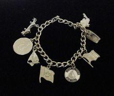 Vintage Silver Tone New York Theme Charm Bracelet