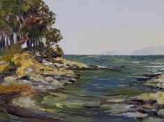 Oyster Bay Late July 12 x 16 inch plein air oil on canvas by Terrill Welch  - sold