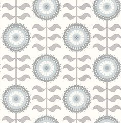 Tall Flower  Grey Swirl wallpaper by Layla Faye