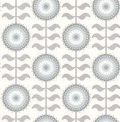 Tall Flower  Grey Swirl wallpaper by Layla Faye