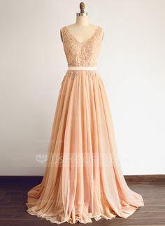 [US$ 199.99] A-Line/Princess V-neck Floor-Length Tulle Wedding Dress With Beading (002108305)