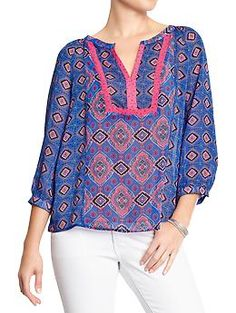 Women's Mixed-Print Chiffon Tops | Old Navy