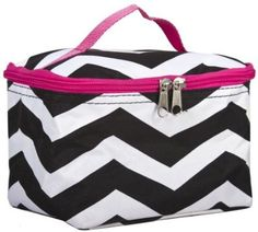 cool World Traveler Pink Chevron Cosmetic Make-Up Case Bag - For Sale
