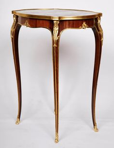 Louis XV Style Ormolu-Mounted Side Table with Marble Top Retailed by Deveraux   From a unique collection of antique and modern side tables at https://www.1stdibs.com/furniture/tables/side-tables/