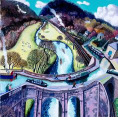 River, Rail and Canal - Limpley Stoke contemporary Modern Paintings. View all Francis FARMAR art and Modern artwork at Red Rag art gallery. John Galliano, Modern Artwork, Beautiful Artwork, Contemporary Artists, Modern Contemporary, Steve Madden, Perspective Art, Different Perspectives, Limited Edition Prints