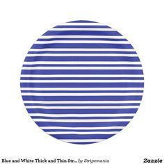 Blue and White Thick and Thin Stripes Paper Plate  sc 1 st  Pinterest & Green and White Thick and Thin Stripes Paper Plate | Stripes Green ...