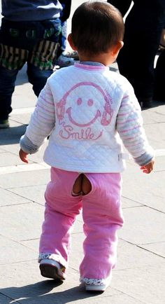 Chinese toddler in split crotch trousers