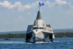 North Sea Boats X3K. A 63 meter long carbon composite stealth trimaran. Fast Missile Patrol Vessel (FMPV)