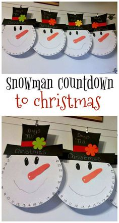 Snowman countdown to christmas craft for kids to make! The nose moves every day!