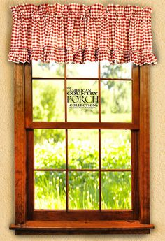 The Country Porch features the Cottage Red Check Ruffled Window Curtain Valances from the American Country Porch collection. Plaid Curtains, Net Curtains, Blue Curtains, Curtain Valances, Window Curtains, Window Cornices, Kitchen Curtains, Country Valances, Country Style Curtains