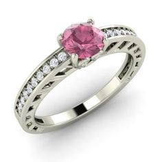 Round Pink Tourmaline Engagement Ring in 14k White Gold with SI Diamond