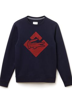 Lacoste SPORT Tennis crew neck sweatshirt in fleece with printed crocodile