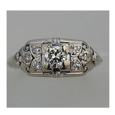 Art Deco Old European Cut Diamond Engagement Ring 0.25 Carats Circa 1920's