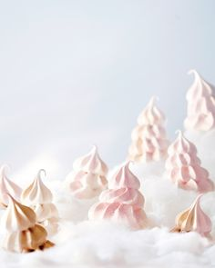 Our Favorite Christmas Cookie Recipes, from Biscotti to Gingerbread | Tis the season to bake cookies! Use our delicious recipes for biscotti, gingerbread, shortbread, spritz and more to make the best edible gifts for family and friends. Here, a recipe for meringue trees, tinted pale pink and chocolatey brown-crisp on the outside and soft and marshmallow-like on the inside.  #food #recipe #marthastewart #christmascookies #holidayrecipes