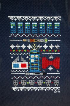 Doctor Who Christmas cross stitch.  Learn how to make your own geeky Christmas cross stitch pattern!