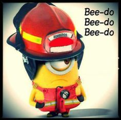 """The Minions are back! Minion """"Bee-Do"""" come to save the day! Copyright Explain: Despicable Me 2 is copyright of Universal Pictures. Amor Minions, Cute Minions, Minions Quotes, Minion Stuff, Minion Videos, Minion Things, Happy Minions, Firefighter Paramedic, Firefighter Love"""
