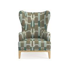 Lexington Chair, Antique Brass, Acoustic Wave, Driftwood