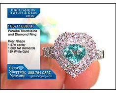 1.27 ct Paraiba Tourmaline Heart & 1.06 ctw Diamond 18K White Gold Ring, Size 7