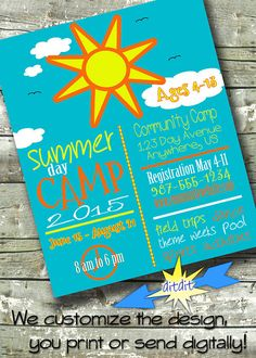 Summer Community Camp ~ Kids Camp ~ Church or Community Event ~ Invite ~ Flyer ~ Poster ~ 300 dpi Digital Invitation Summer Camps For Kids, Camping With Kids, Summer Kids, Kids Camp, Summer School, Brochure Templates Free Download, Event Flyer Templates, Boot Camp, Graphic Design Templates