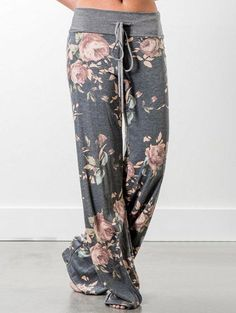 Elsofer Women's Pajama Lounge Pants Floral Print Comfy Casual Stretch Palazzo Drawstring Pj Bottoms Pants Wide Leg Loose Pants, Wide Leg Pants, Loose Fit, Sweat Pants, Grey Trousers, Wide Legs, Gray Pants, Trousers Women, Black Pants