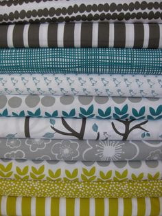 Lotta Jansdotter, Bella, Yellow Teal in FAT QUARTERS, 10 Total  Bead Stripe Charcoal  Stripe Charcoal  Off Kilter Lines Teal  Quail Run Teal  Pods Teal  Trees Teal  Posies Ash  Pods Citron  Scatter Dot Citron  Stripe Citron