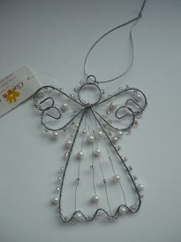 Beaded wire angel...I would use one of the prettier craft wires like silver, gold, or copper.