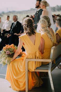 How beautiful are these long yellow bridesmaids gowns! A unique colour that really makes a statement. Yellow Bridesmaid Dresses, Flawless Beauty, Black Decor, Unique Colors, How Beautiful, Wedding Styles, Wedding Venues, Gowns, Style Inspiration