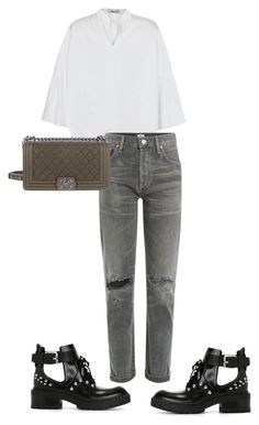 """""""#178"""" by nataliyabodnar ❤ liked on Polyvore featuring Kenzo, Valentino, Citizens of Humanity, Chanel, StreetStyle and denim"""