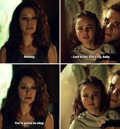 love this scene, Season 3, Sarah, her daughter Kira, and crazy, psycho clone Rudy.