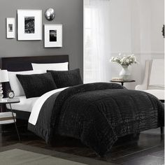 Chic Home Alligator 7 Piece Comforter Set Faux Fur Micro Mink Alligator Skin Bed in a Bag Bedding, Queen Black Bedroom Decor, Comforter Sets, Modern Bedroom, Black Bedding, Bedding Sets, Black Rooms, Home Decor, Black Decor, Chic Home