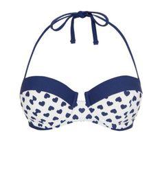 Kelly Brook Navy Textured Heart Print Bikini Top