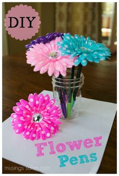 DIY Flower Pens Pin - endless possibilities! Mother's Day, tween gift, party favor...