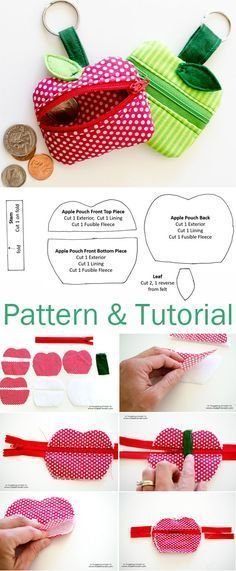 Lunch Money Zippered Apple Pouch Tutorial & Patter... - #Apple #coins #Lunch #MONEY #Patter #Pouch #Tutorial #Zippered