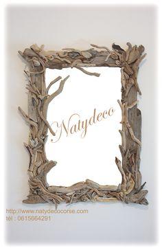 miroir en bois flotté 10 heures environ de travail http://www.natydecocorse.com