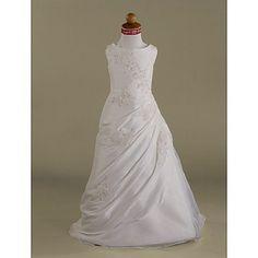For Ellie  A-line Scoop Floor-length Taffeta Tulle Flower Girl Dress  – USD $ 79.99