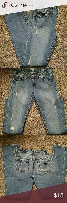 """Aeropostale Jeans Size 7/8 Aeropostale faded jeans.  All factory tears and fades.   Inseam is 31"""".  Bayla Skinny Style. Aeropostale Jeans Skinny"""