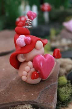 Items similar to Polymer Clay Valentine Baby Gnome - Miniature Baby Gnome - Mini Clay Baby Gnome - Fairy Garden Accessory - Baby Gnome Sculpture on Etsy Polymer Clay Fairy, Polymer Clay Ornaments, Polymer Clay Figures, Cute Polymer Clay, Polymer Clay Dolls, Polymer Clay Projects, Polymer Clay Creations, Clay Fairies, Clay Baby