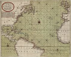 """""""A GENERALL CHART for the WEST INDIES,"""" Mount & Page, 1748. Edward Wright (bptd 1561; d.1615) was an English mathematician and cartographer. He was the first to explain the mathematical basis of the Mercator Projection, and set out a reference table giving the linear scale multiplication factor as a function of latitude, calculated for each minute of arc up to a latitude of 75°. This was the essential step needed o make practical both the making and the navigational use of Mercator charts."""