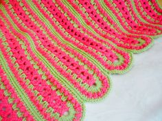 Deep Pink and Meadow Green Girls Baby Blanket by Aalexi on Etsy