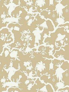 DecoratorsBest - Detail1 - Sch 5005150 - Shantung Silhouette Print - Sand - Wallpaper - Fabrics - DecoratorsBest