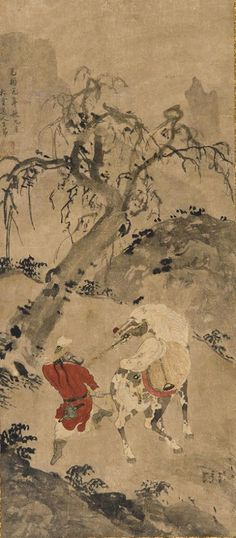 Ming Dynasty Artist (Chinese, fl. mid-16th c.) Landscape: A Dappled Horse and a Horseman (c. 1540-60) Ink & color on paper, 67.2 x 29.6 cm. Sackler-Freer Gallery, Washington DC (Gift of Charles Lang Freer)