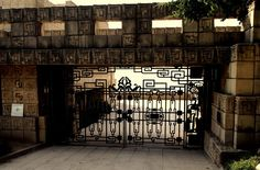 Ennis House entrance gate.  Los Feliz, CA